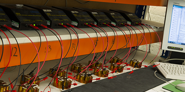 A test bench with a number of Steatite custom built battery packs